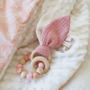 Anneau oreilles de lapin ROSE
