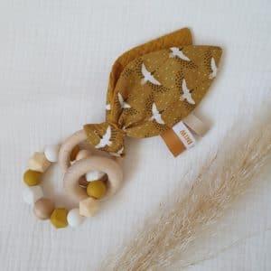 Anneau oreilles de lapin OISEAUX moutarde