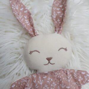 Doudou mini lapin FEUILLAGES ROSES
