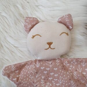 Doudou chat FEUILLAGES rose