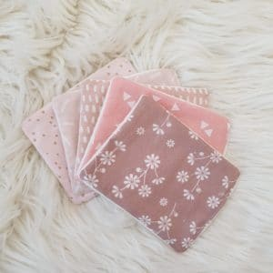 5 lingettes rectangulaires ROSES