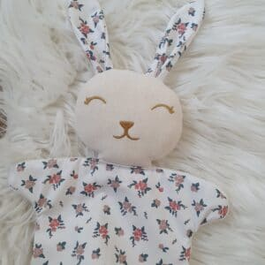 Mini doudou noeud lapin FLORA