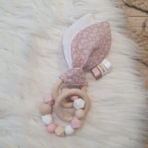 Anneau oreilles de lapin PETITES FLEURS ROSES