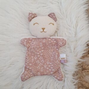 Doudou mini chat FEUILLAGES ROSES