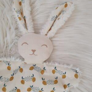 Doudou lapin FOURRURE lemon
